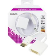 Adapteris DELTACO DisplayPort- DVI-D, balts/DP-DVI