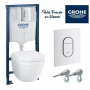 GROHE Rapid SL komplekts 4 in 1 Iebūvējamais tualetes poda (WC) rāmis + pods EuroCeramic ar vāku Soft Close 39536000